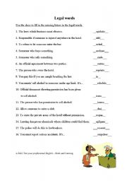 English Worksheets: legal words