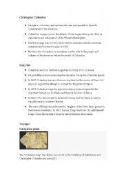 English Worksheets: Christoper Colombus