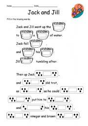 English Worksheets: Jack and Jill Gap Fill