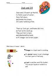 English Worksheet: Jack and Jill Rebus Rhyme