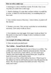 English Worksheets: How to write a mini-saga