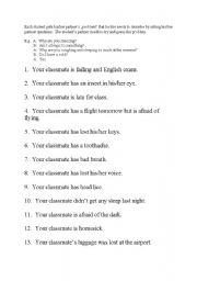 English Worksheets: Guess Your Problem