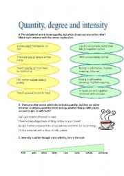 English Worksheet: Quantity, degree and intensity