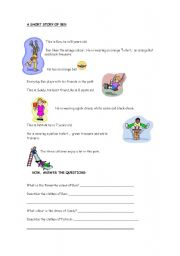 English Worksheets: READING COMPREHENSION ABOUT CLOTHES, ELEMENTARY