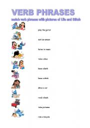 English worksheet: Verb phrases