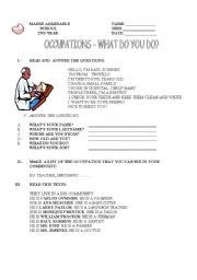 English Worksheets: Occupations and what do you do