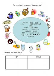 English Worksheet: All drinks. Are they cold or hot?
