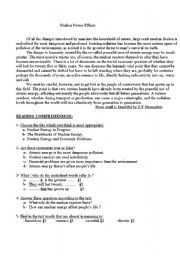 English Worksheets: Nuclear Power Effects