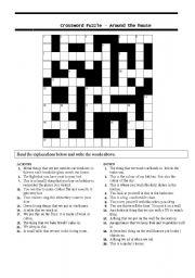 English Worksheet: crossword puzzle-around the house