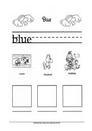 English worksheet: Color Blue