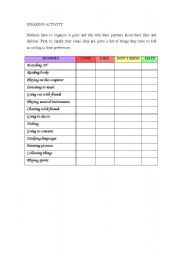 English Worksheets: Speaking about hobbies: like, dislike, love and hate.