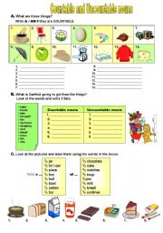 English Worksheet: Countable & Uncountable Nouns