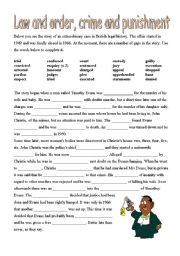 English Worksheet: Law and order, crome and punishment