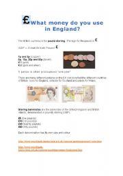 English Worksheet: English money: coins and banknotes