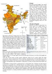 English Worksheet: India - a factsheet