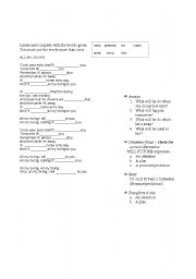 English Worksheet: grammar through songs future forms - All my  -Beatles