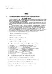 English Worksheets: Read the passage and answer the following questions