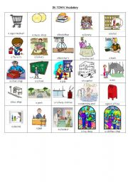 english worksheets in town vocabulary. Black Bedroom Furniture Sets. Home Design Ideas