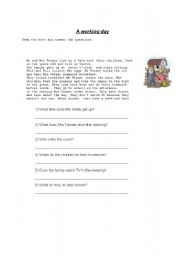 English Worksheets: A WORKING DAY