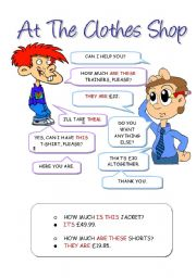 English Worksheet: At the Clothes Shop - Shopping Cards 1