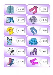English Worksheet: Shopping Cards 2