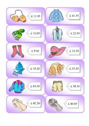 English Worksheets: Shopping Cards 3