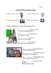 English Worksheets: Who, What, When, Where practice