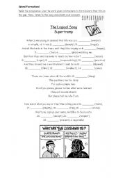 English Worksheets: Song: The Logical Song - Supertramp