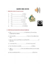 English Worksheets: Know the Sounds in Everyday life