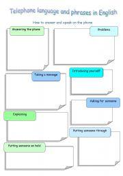 English Worksheet: Telephone language and phrases