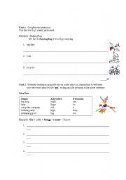 English Worksheets: writing test (grade 6)