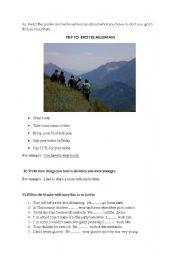English Worksheet: TRIP TO ERCIYES MOUNTAIN