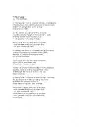English Worksheet: Song: Penny Lane, by The Beatles