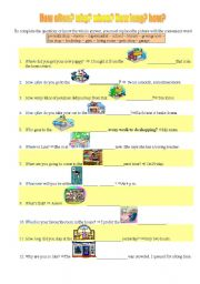 English Worksheets: W-h question words and places