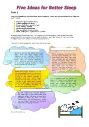 English Worksheets: Five Ideas for Better Sleep