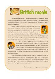English Worksheet: British meals
