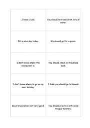 English Worksheets: Modals of Advice - Go Fish
