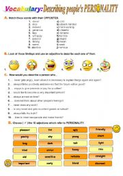 English Worksheet: Describing people´s PERSONALITY
