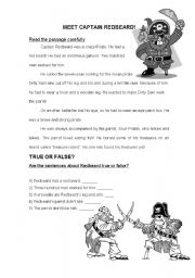 English Worksheets: Reading Comprehension: Captain Redbeard