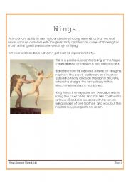 English Worksheet: Wings (Greek mythology about Daedalus and Icarus)