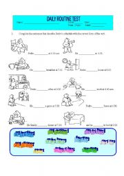 English Worksheet: Daily Routine Test