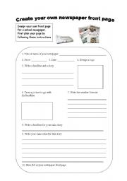 Create your own newspaper front page - ESL worksheet by Minie