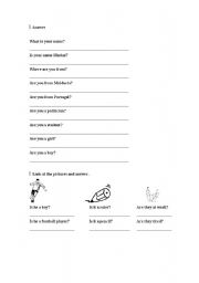 English Worksheets: QUESTIONS FOR BEGGINERS