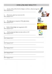 English Worksheets: How long ago was it?