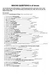 English Worksheet: Making Questions in All Tenses