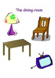 English Worksheet: Dining room flashcards