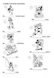 English Worksheet: Present Continuous with Disney characters - part 1