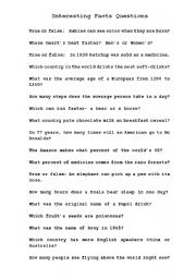 English Worksheets: Interesting Facts Questions (2 of 2)