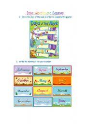 English Worksheet: Days, Months and Seasons