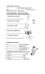 English Worksheets: Occupations and action work
